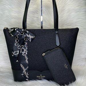 🖤 Kate Spade 😍 Lola Glitter Tote Wallet & Scarf